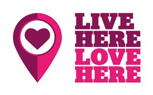 Live Here Love Here pink logos